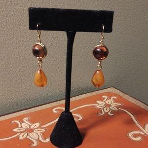 Amber Gold Drop Earrings